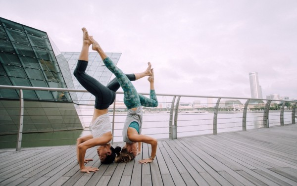 Yoga Headstand with Partner