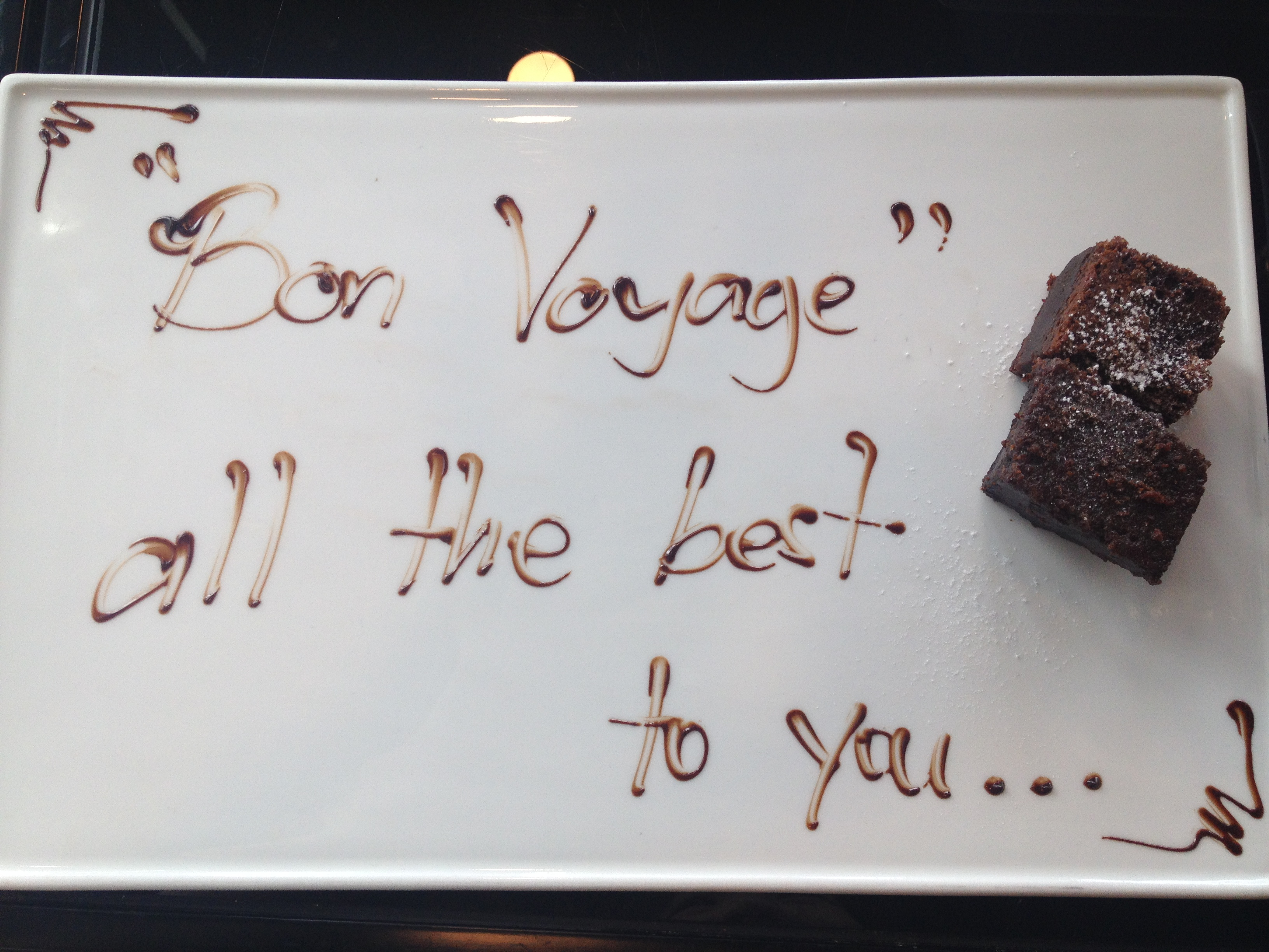 Bon voyage message in chocolate