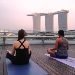Meditating at sunset Marina Bay