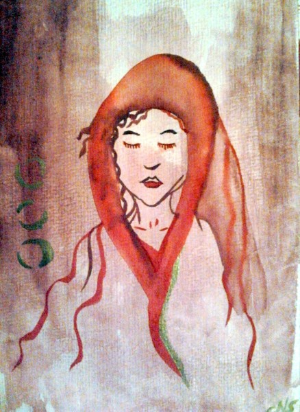 Woman in red shawl watercolour